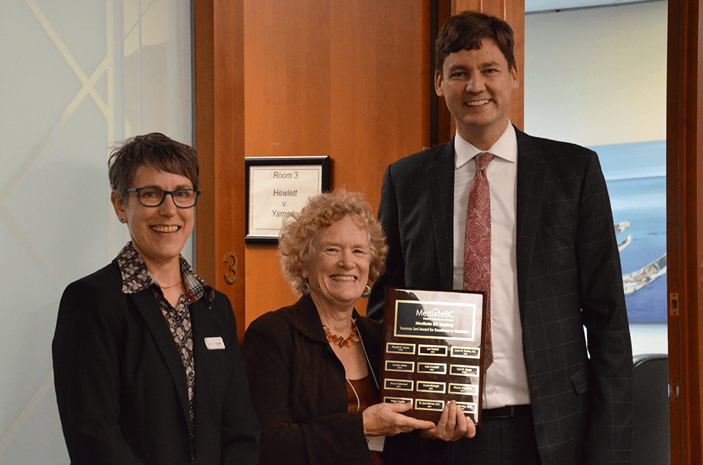Jane Morley Q.C., with Mediate BC Board Chair Lori Charvat and Attorney General David Eby